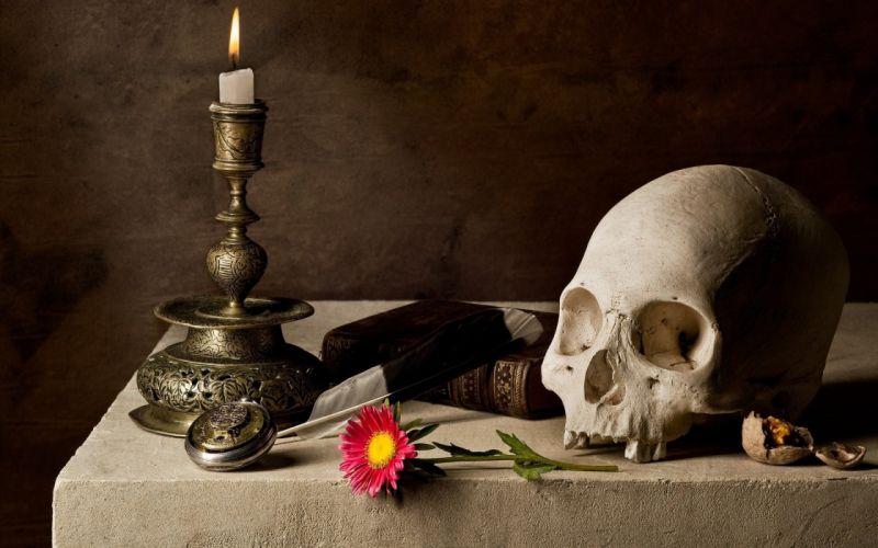 Skulls flowers tables objects candles decorations wallpaper