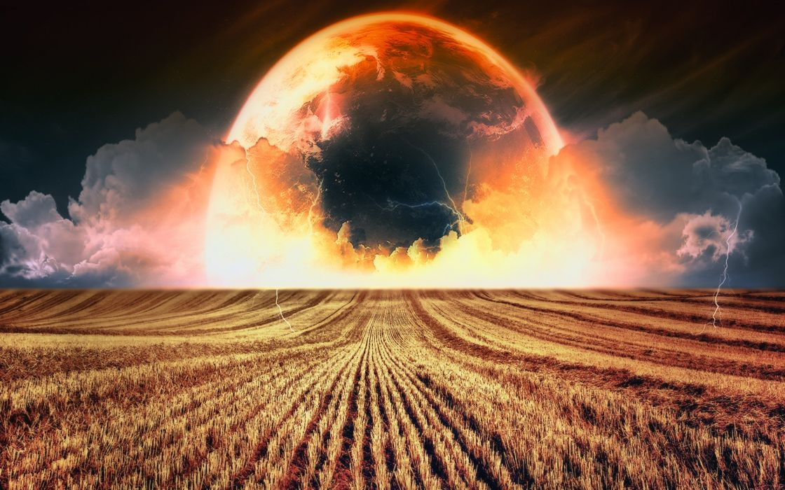 Abstract landscapes planets fields wallpaper
