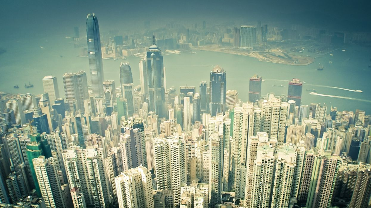 Cityscapes seas buildings hong kong sepia boats vehicles light painting wallpaper