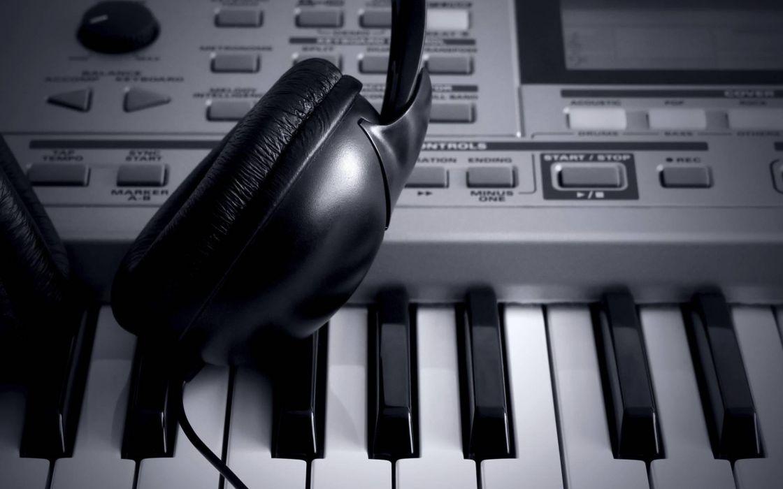 Headphones keyboards monochrome wallpaper