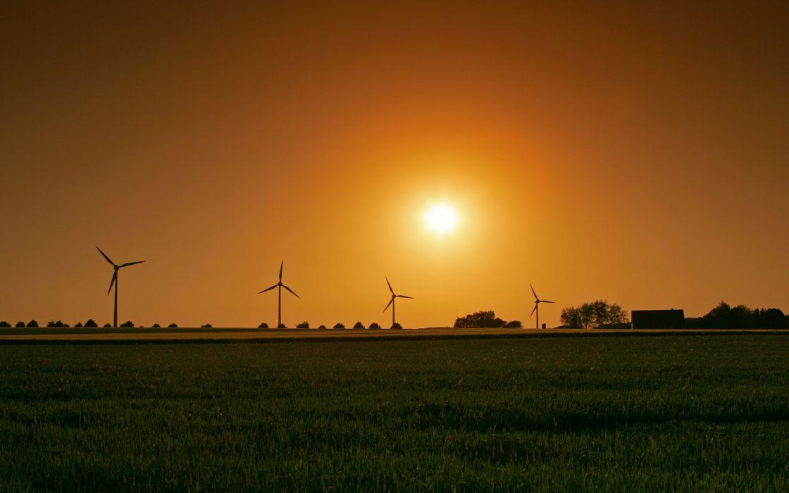Sunset landscapes grass fields wind turbines wallpaper