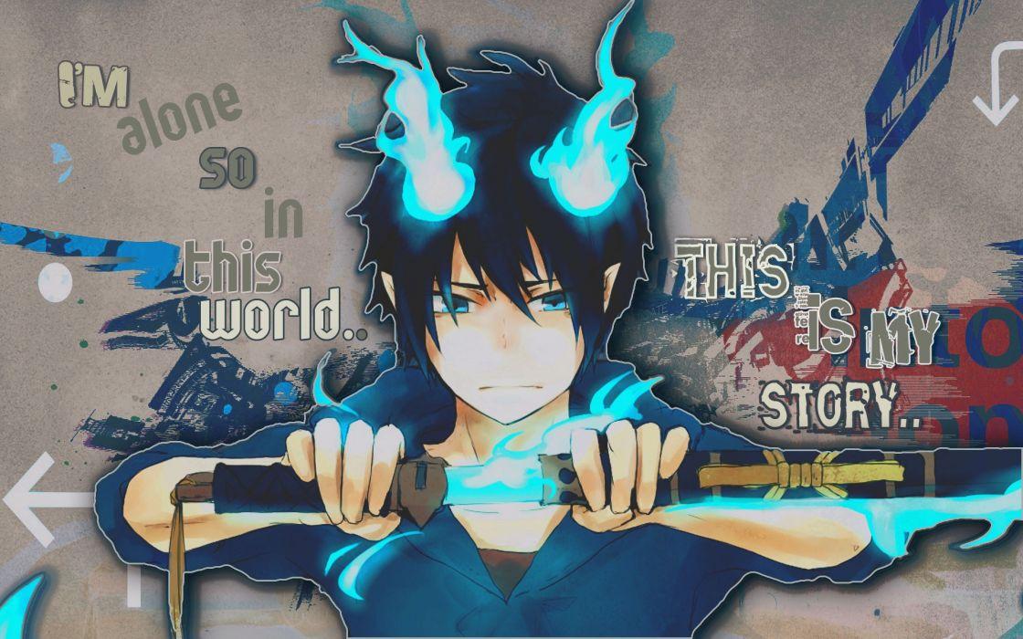 Brunettes flames blue anime anime boys ao no exorcist okumura rin swords wallpaper