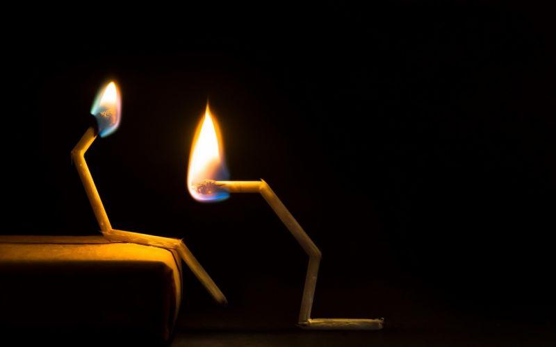 Flames couple black background matchsticks wallpaper
