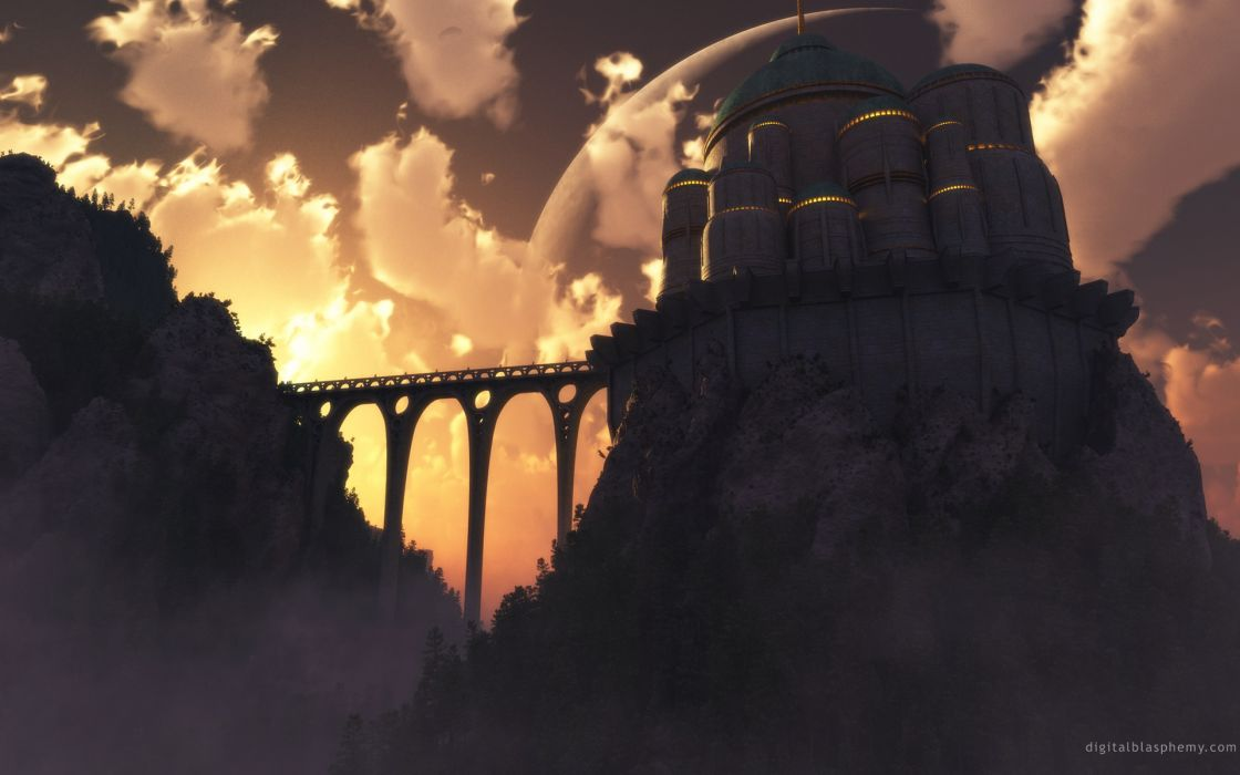 Castles bridges fantasy art citadel wallpaper