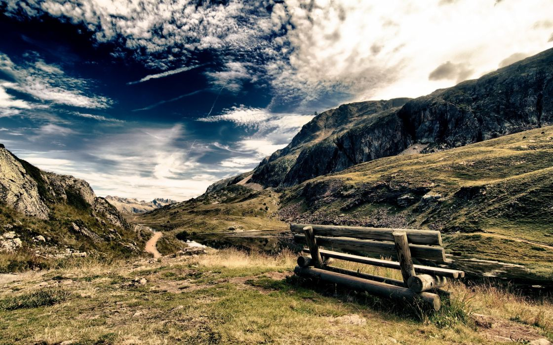 Light mountains clouds landscapes nature sun trees grass rocks bench roads hdr photography skyscapes wallpaper