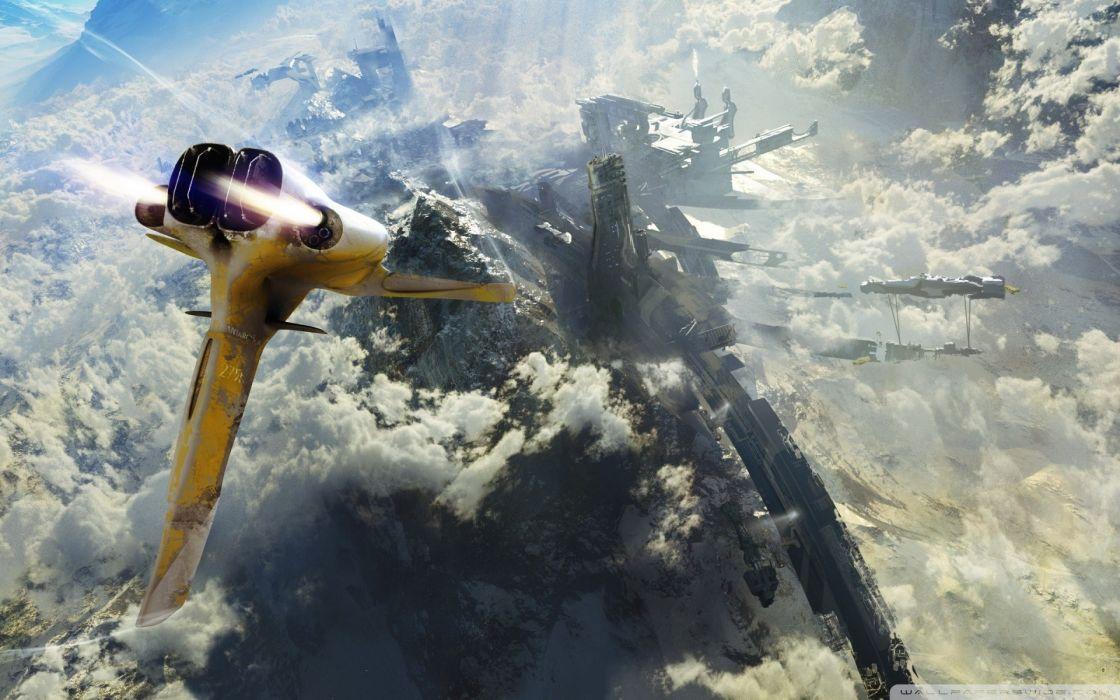 Futuristic fantasy art spaceships vehicles wallpaper