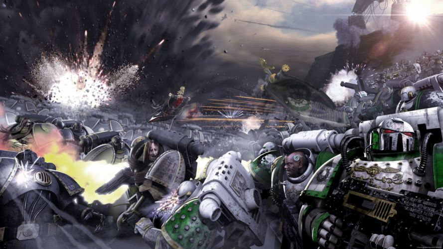Warhammer 40k space marines in flames science fiction galaxy wallpaper