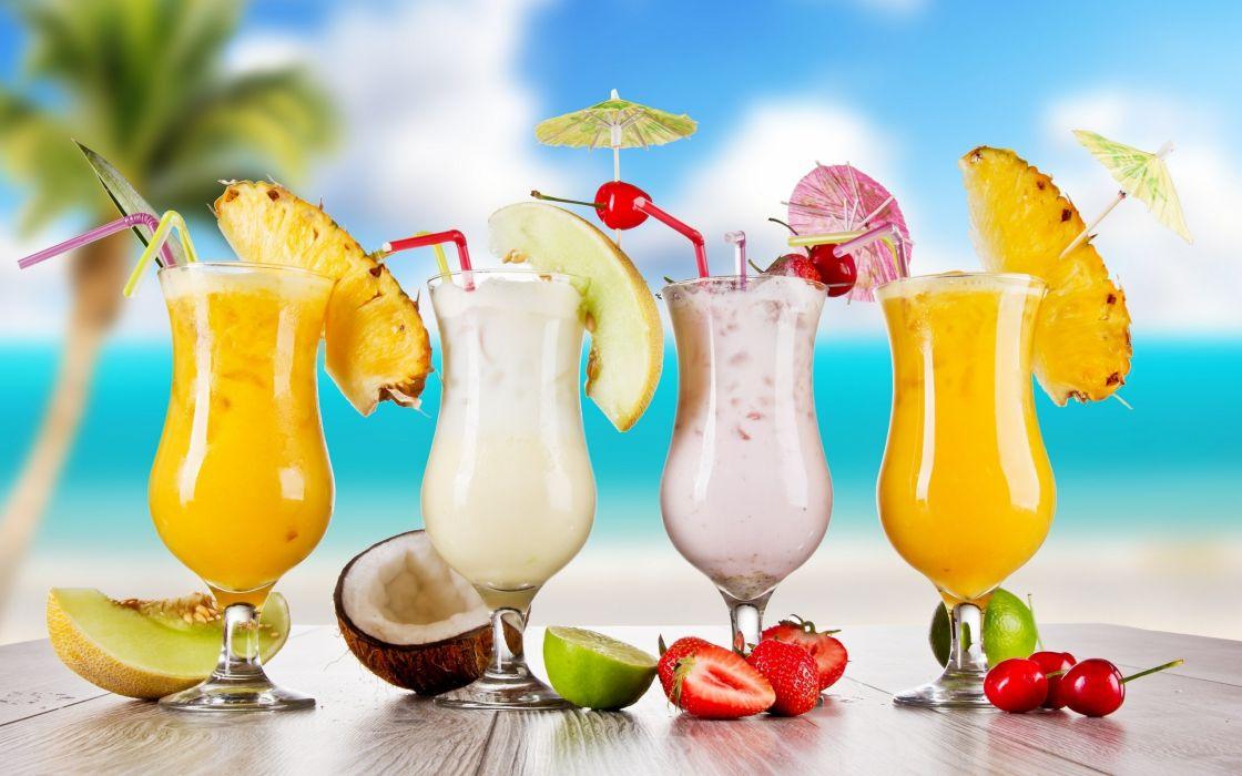 Pineapples glasses cherries straws coconut strawberries drinks lemons wallpaper