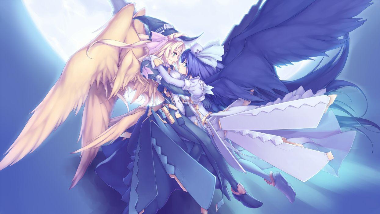 Wings dress pink hair two girls anime girls kyoukai senjou no horizon knight margot naruze malga wallpaper