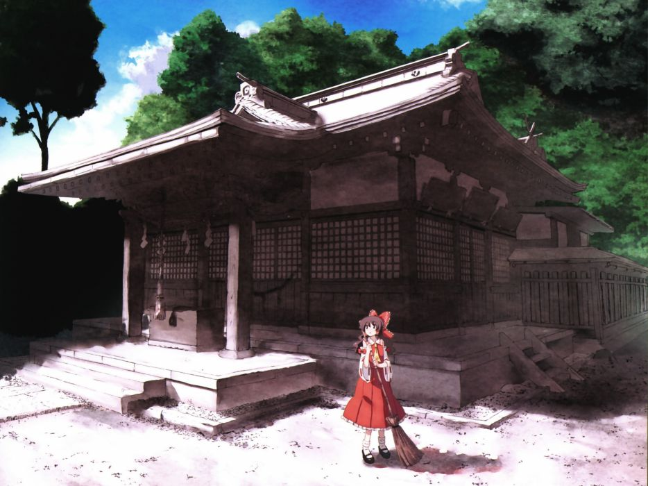 Brunettes video games clouds touhou trees long hair socks shrine miko brooms scenic hakurei reimu bows skyscapes japanese clothes hakurei shrine detached sleeves hair ornaments scans wallpaper
