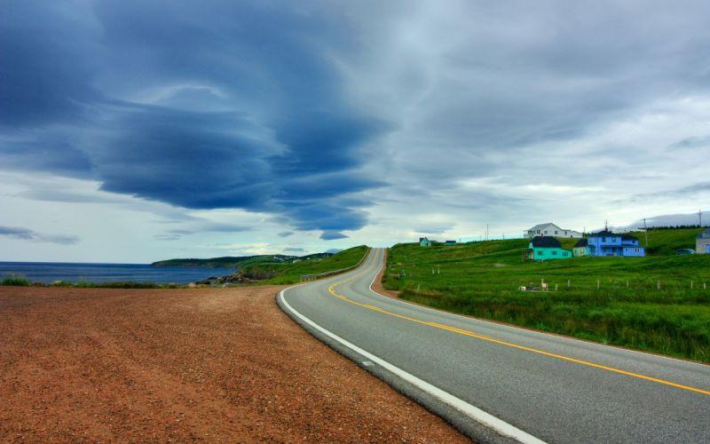 Ocean landscapes houses roads wallpaper