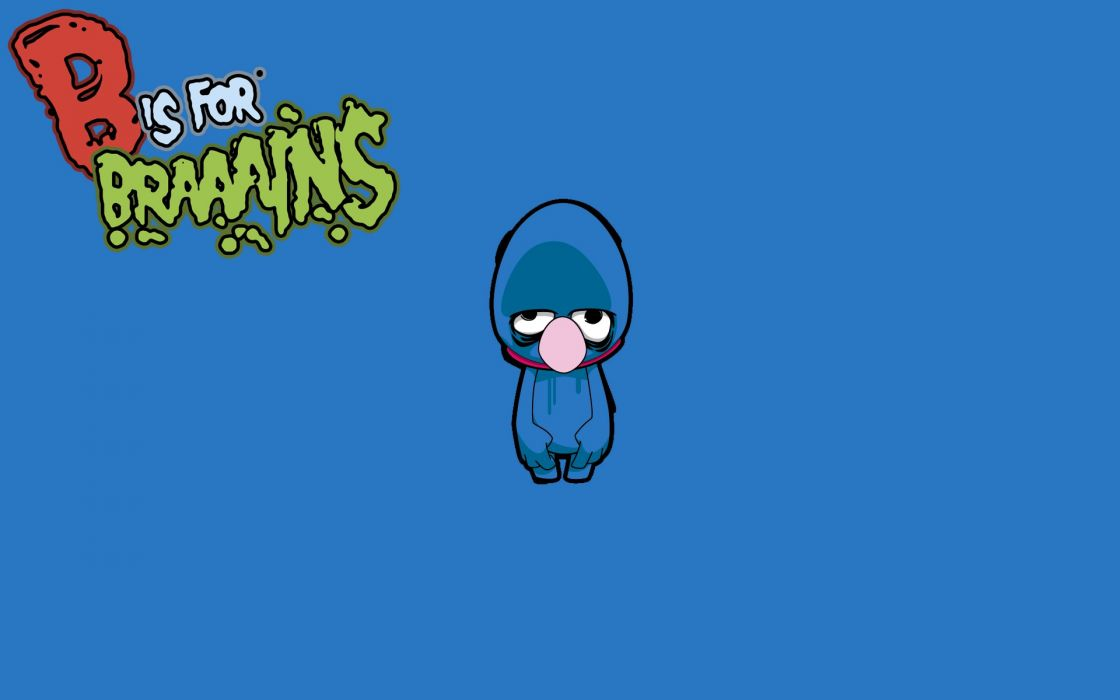 Tv cartoons zombies brain sesame street grover wallpaper