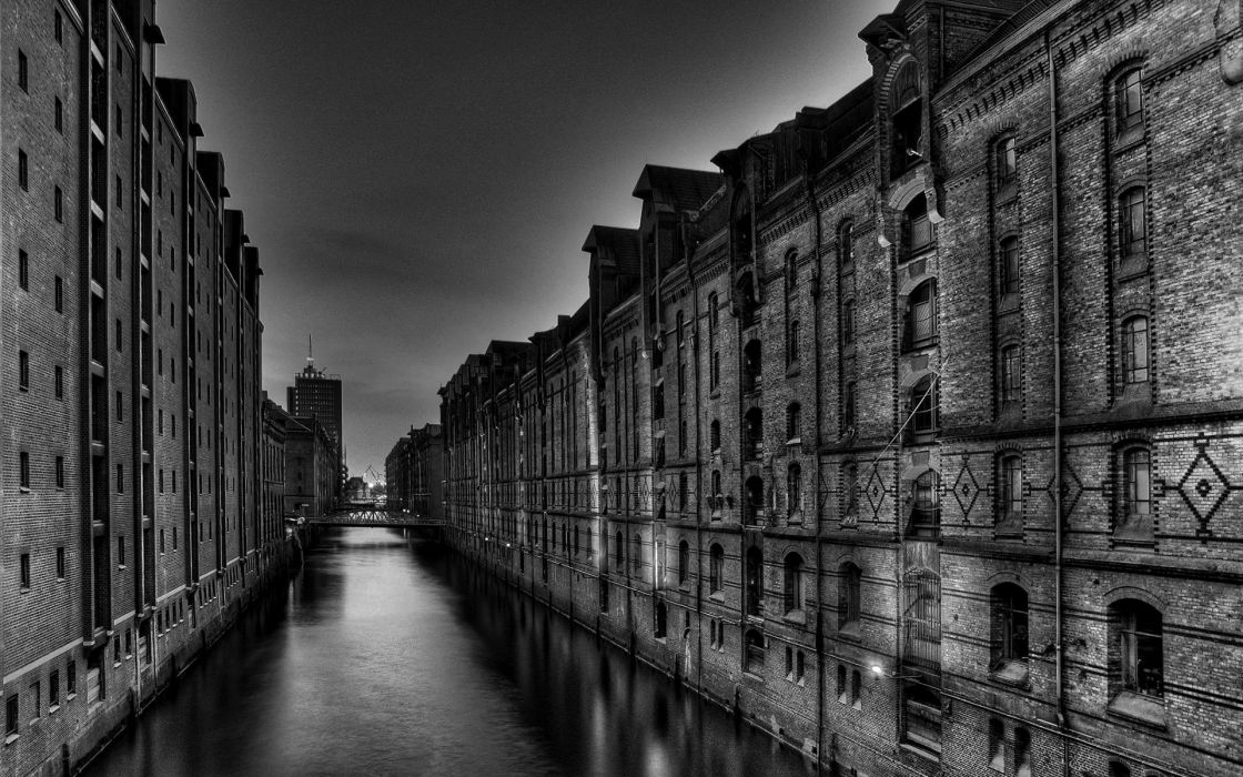 Water cityscapes architecture buildings grayscale monochrome lakes wallpaper