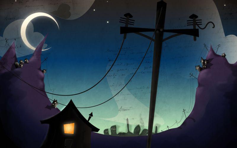 Moon houses wallpaper