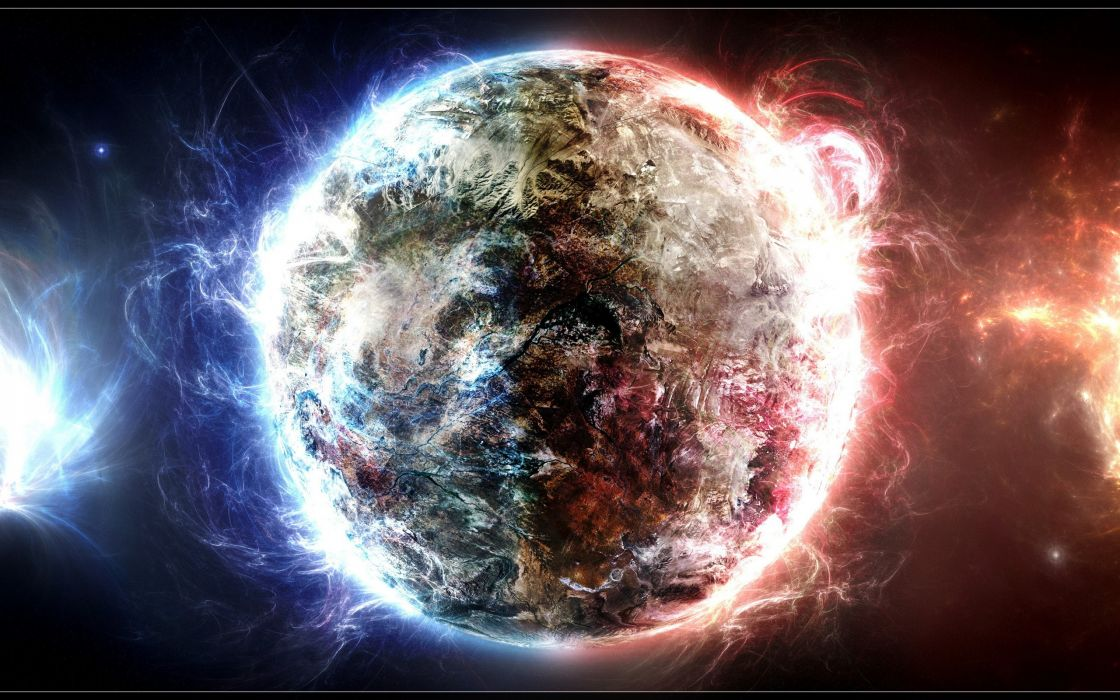 Outer space planets earth digital art wallpaper
