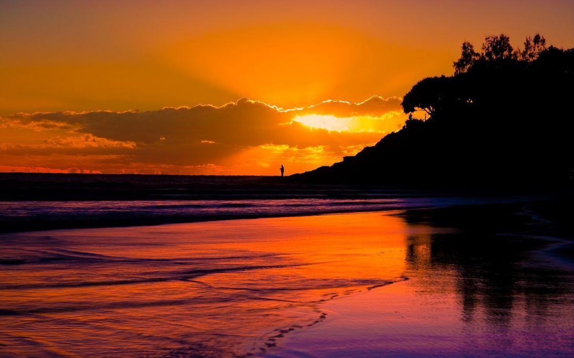 Sunset beach seas silhouette wallpaper
