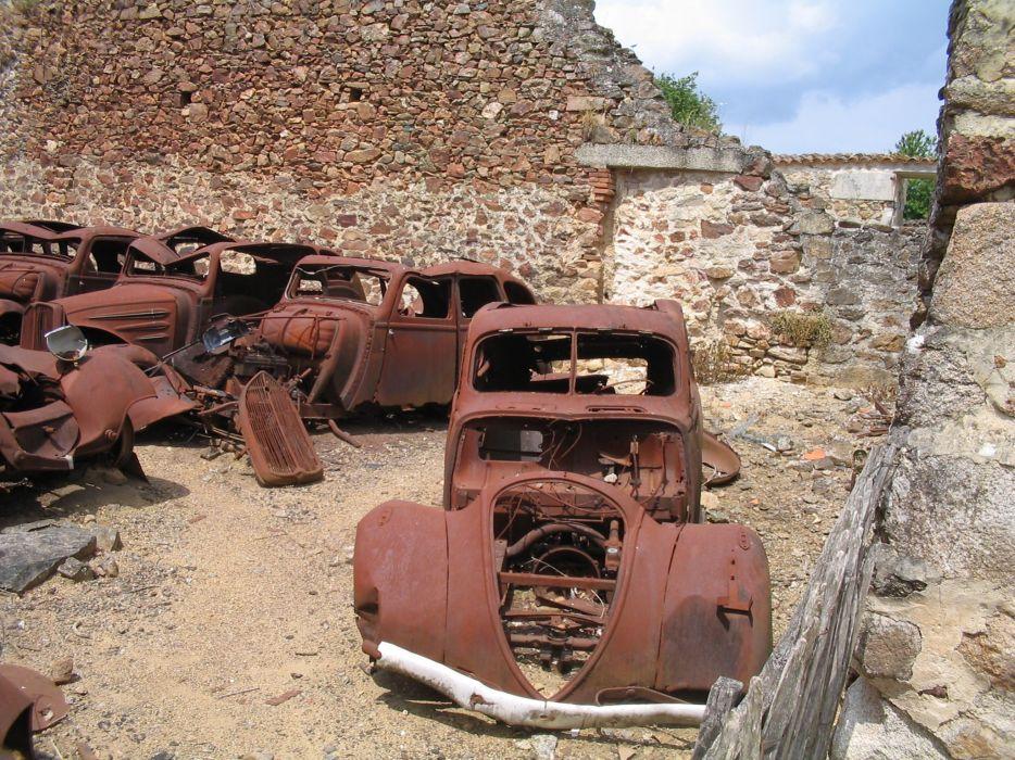 Ruins vintage old cars buildings vehicles wallpaper