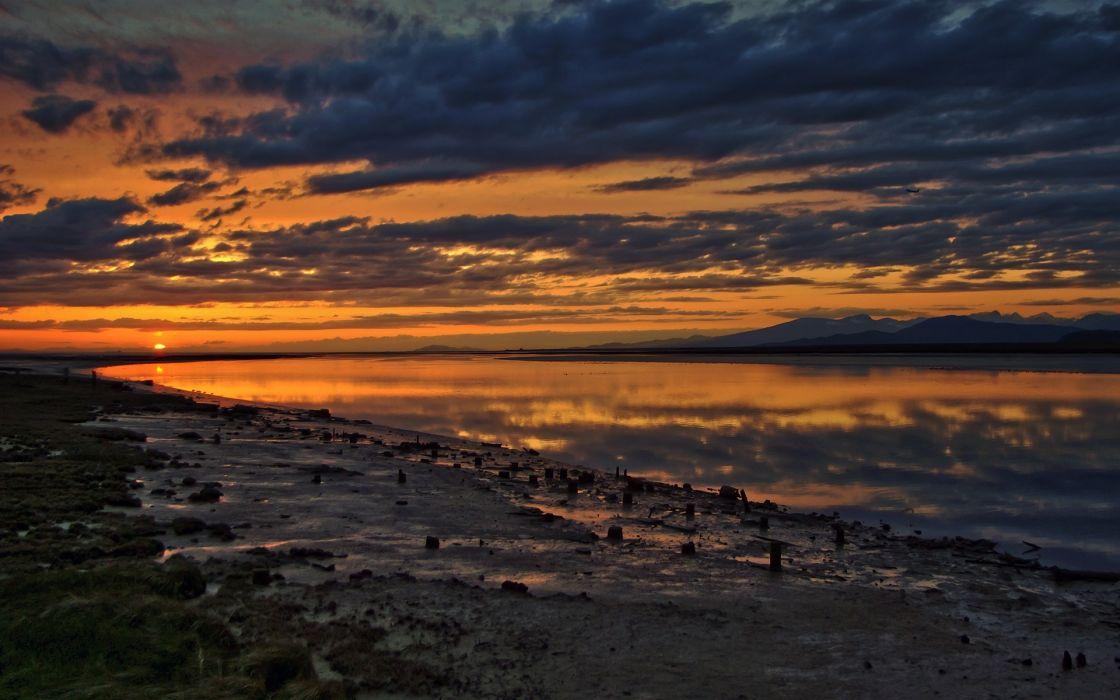 Sunset ocean clouds beach wallpaper