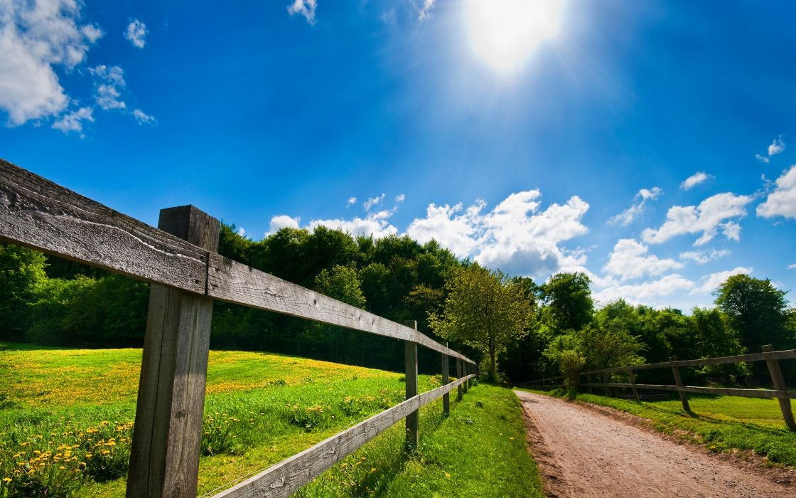 Landscapes nature fences roads wallpaper