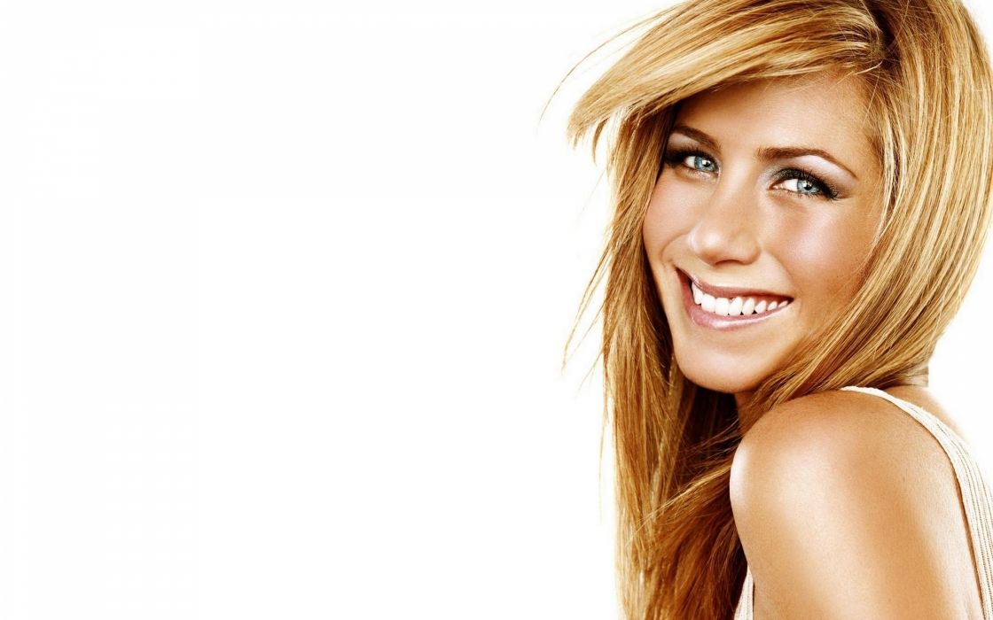 Blondes women jennifer aniston smiling faces white background wallpaper