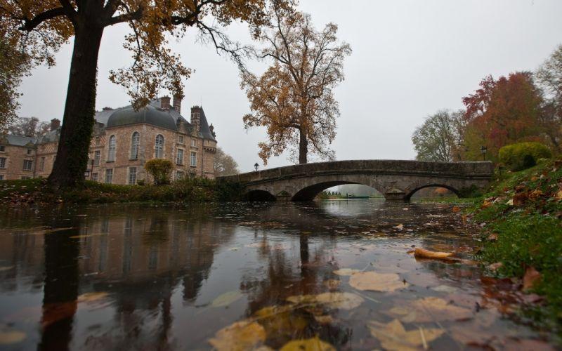Landscapes nature trees architecture bridges buildings rivers reflections wallpaper