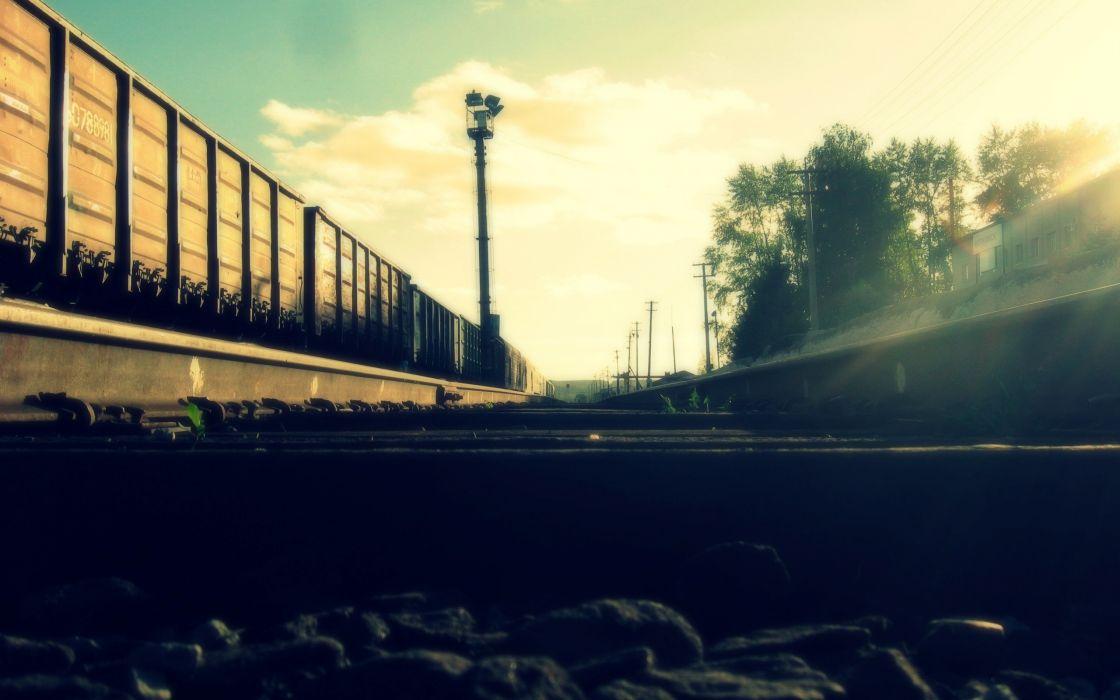 Trains railroad tracks wallpaper