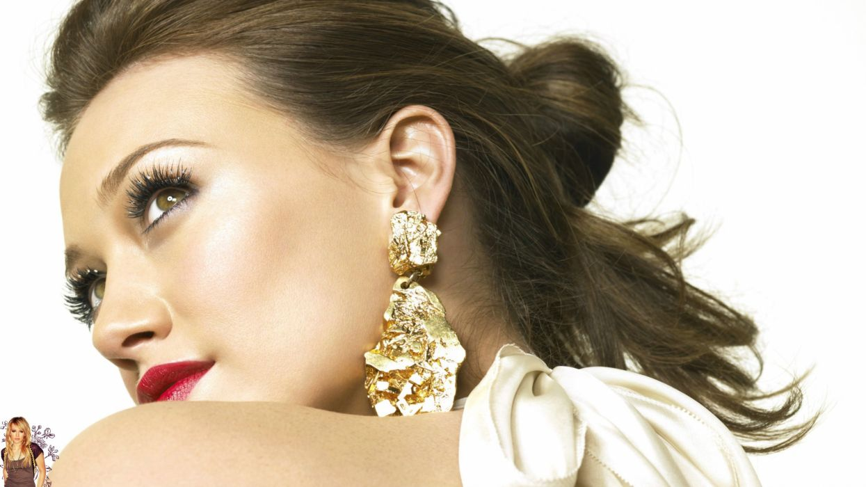 Women hilary duff faces red lips wallpaper