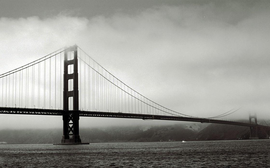 Black and white architecture golden gate bridge san francisco wallpaper