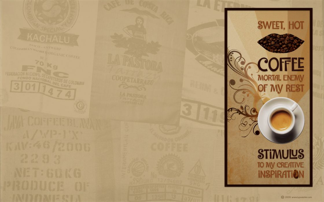 Texts coffee design typography coffee beans inspirational wallpaper