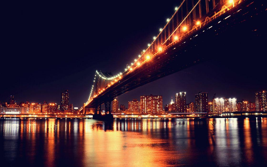 Cityscapes night architecture bridges buildings wallpaper