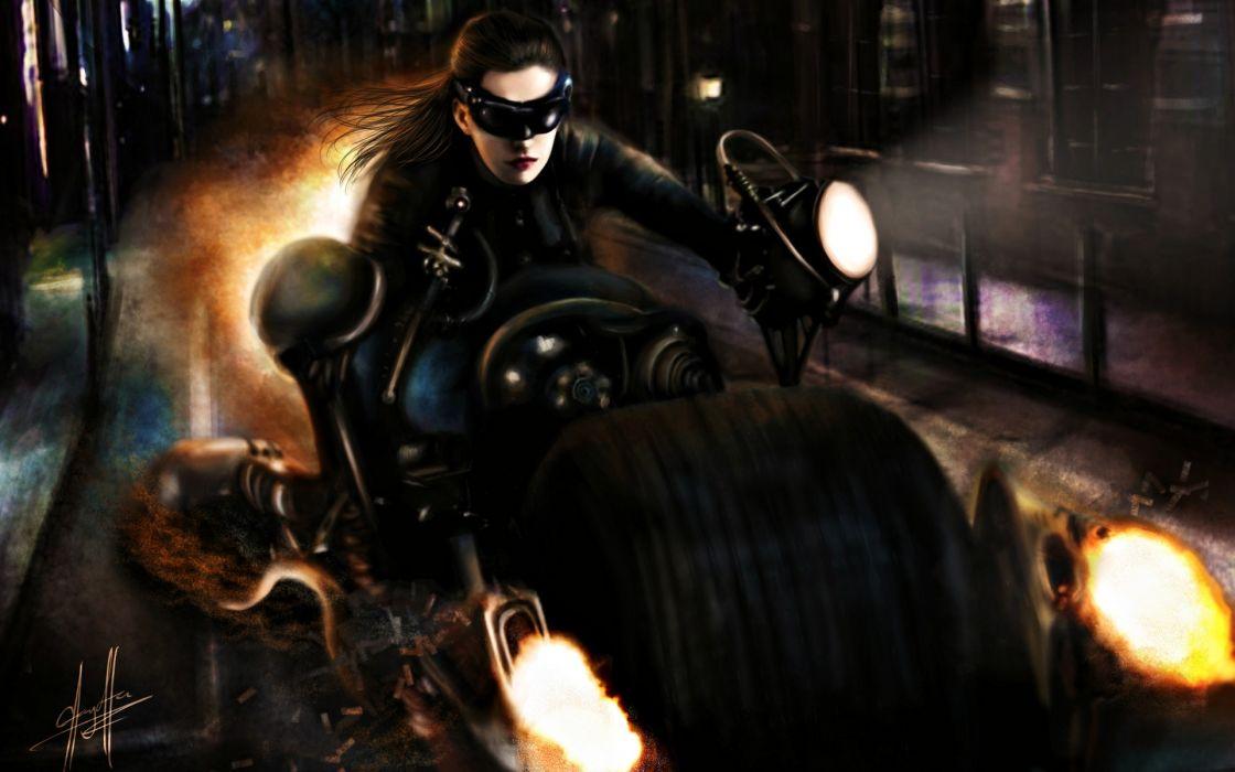 Batman catwoman artwork motorbikes batman the dark knight rises wallpaper
