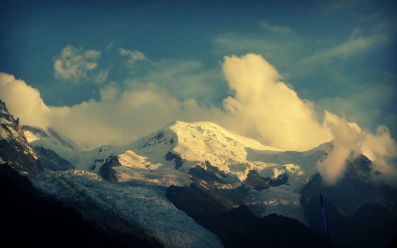 Mountains clouds snow mont blanc skyscapes wallpaper