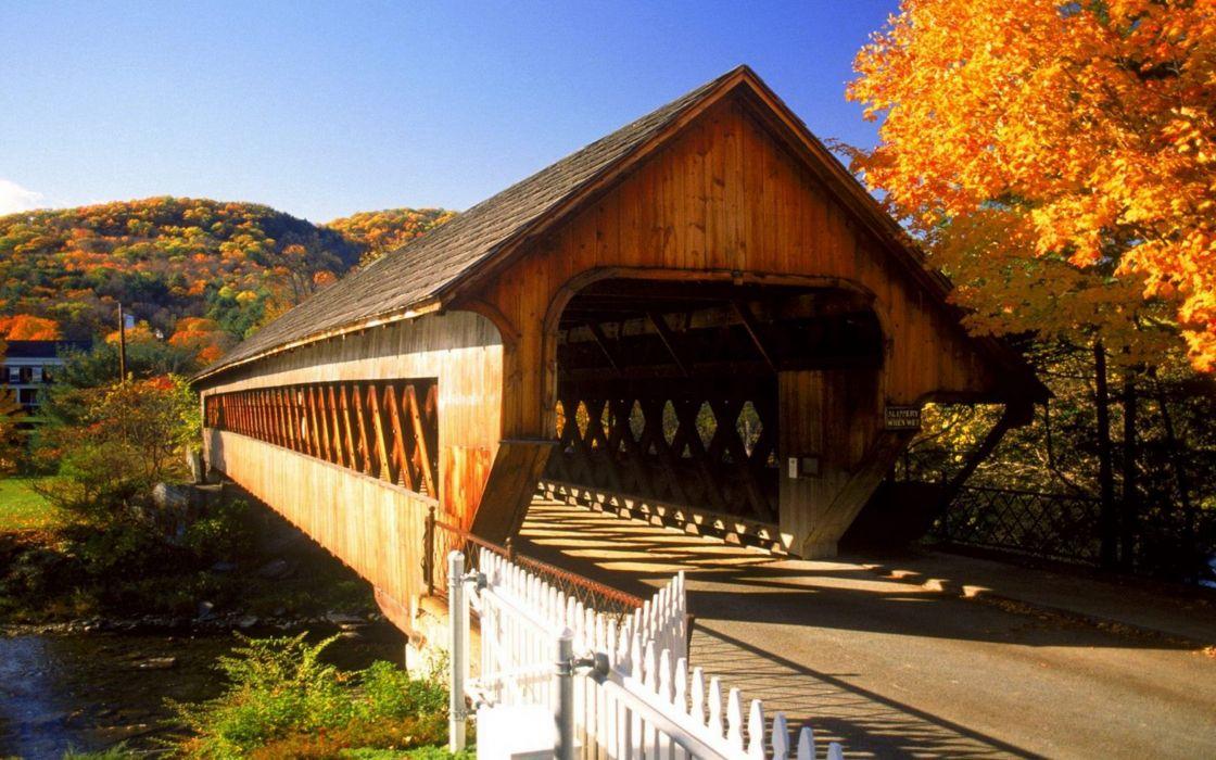Nature autumn (season) bridges wallpaper