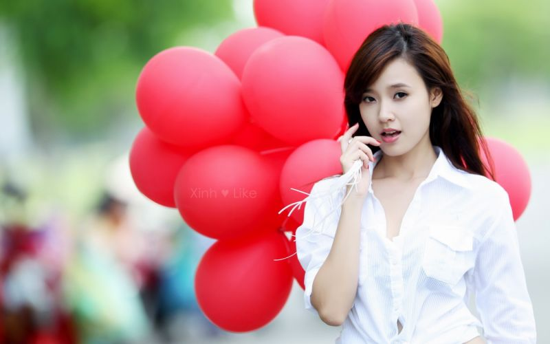 Women models asians asia balloons wallpaper