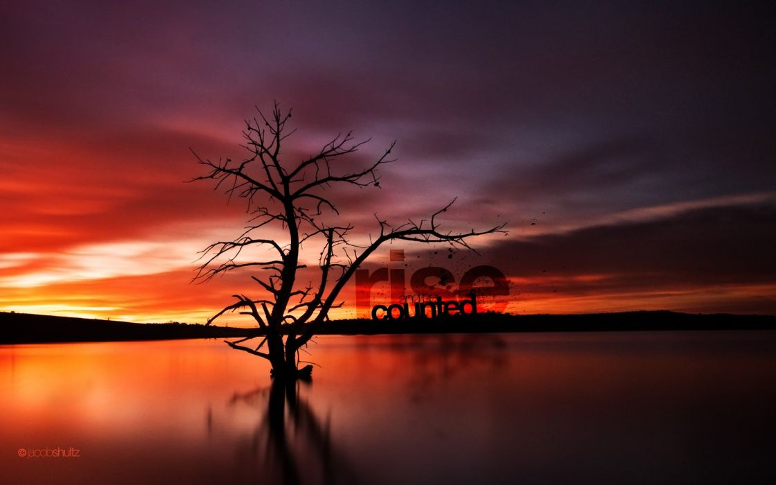 Water sunrise landscapes silhouette typography dam australia lakes seascapes reflections photomanipulations wallpaper