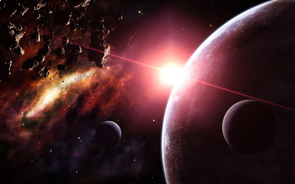 Outer space planets digital art artwork asteroids wallpaper