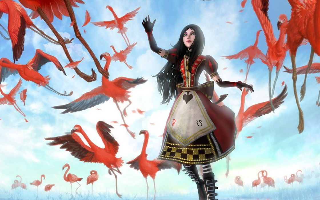 Brunettes women video games clouds red dress flying birds alice in wonderland punk alice gothic heaven flamingos anime hearts gothic dress skyscapes dreaming wallpaper