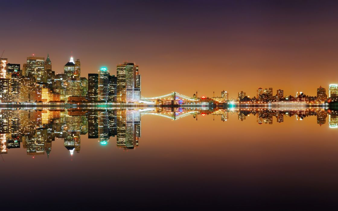 Cityscapes seas buildings reflections wallpaper