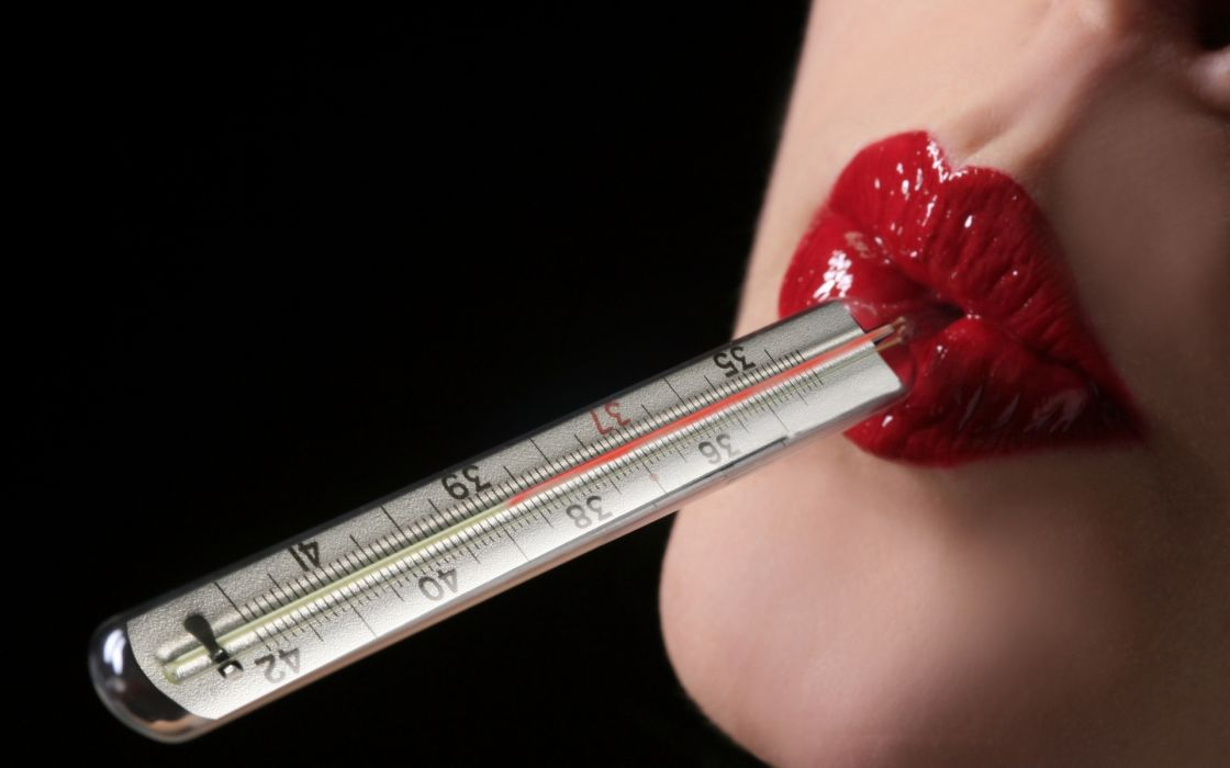 Women lips lipstick thermometer black background wallpaper