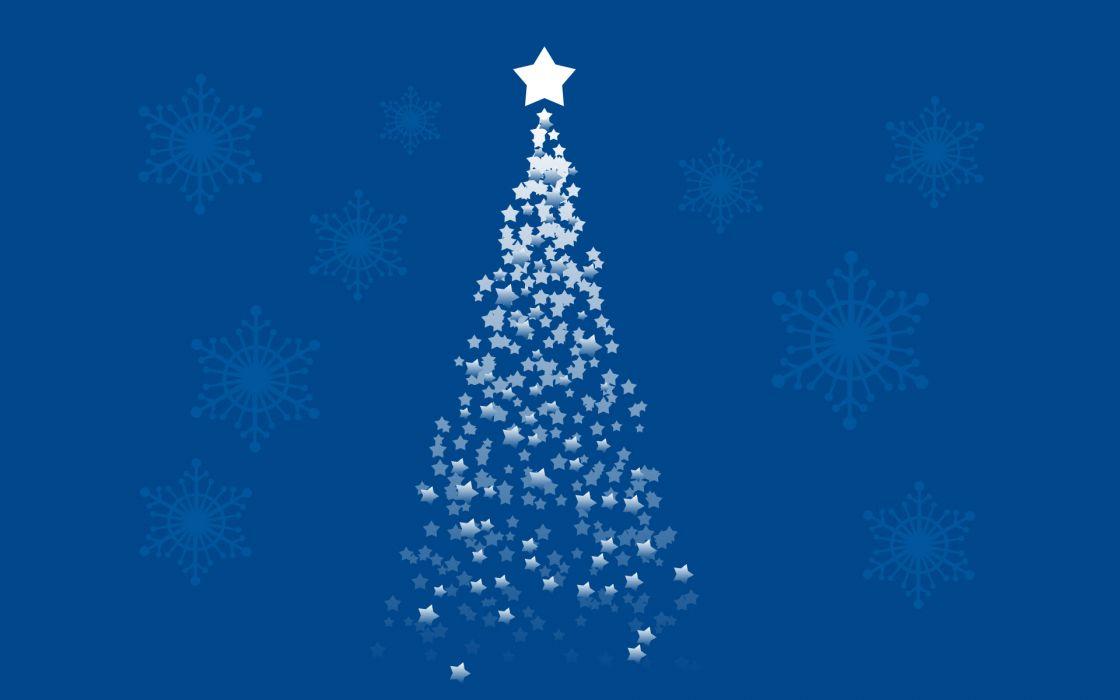 Blue stars christmas christmas trees artwork wallpaper