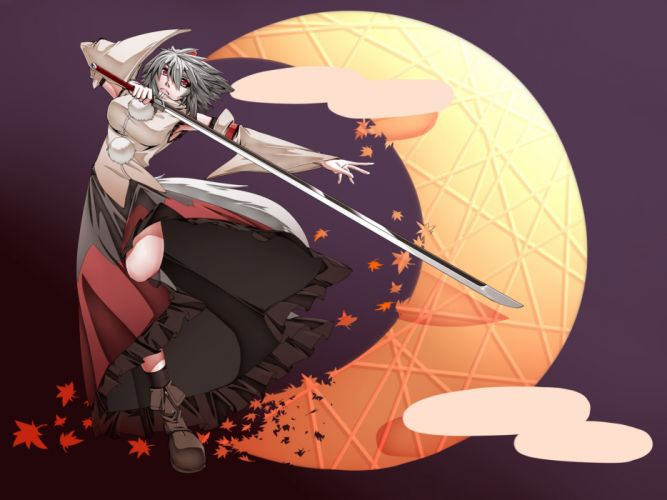 Tails video games touhou leaves moon skirts weapons animal ears red eyes short hair warriors maple leaf inubashiri momiji gray hair hats japanese clothes simple background wolf girl tengu detached sleeve wallpaper