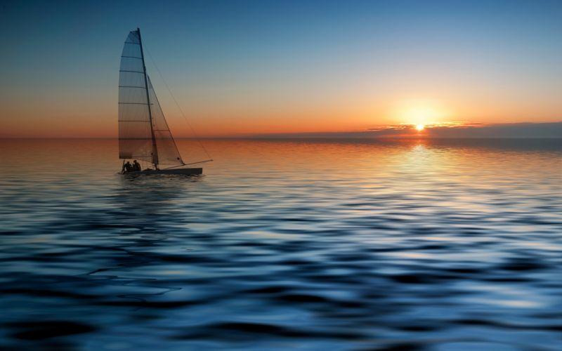 Sunset ocean sun seas vehicles sailboats wallpaper