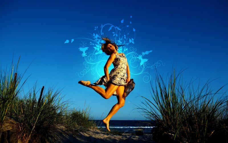 Legs beach jumping barefoot wallpaper