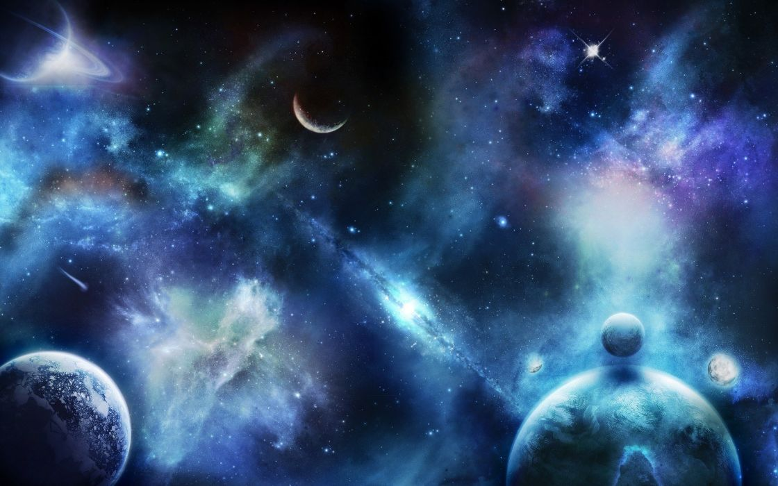 Outer space stars galaxies planets rings wallpaper