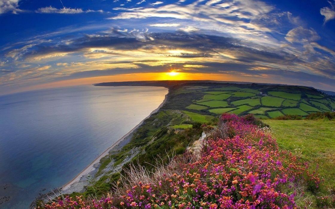 Landscapes nature sun multicolor fields panorama wallpaper