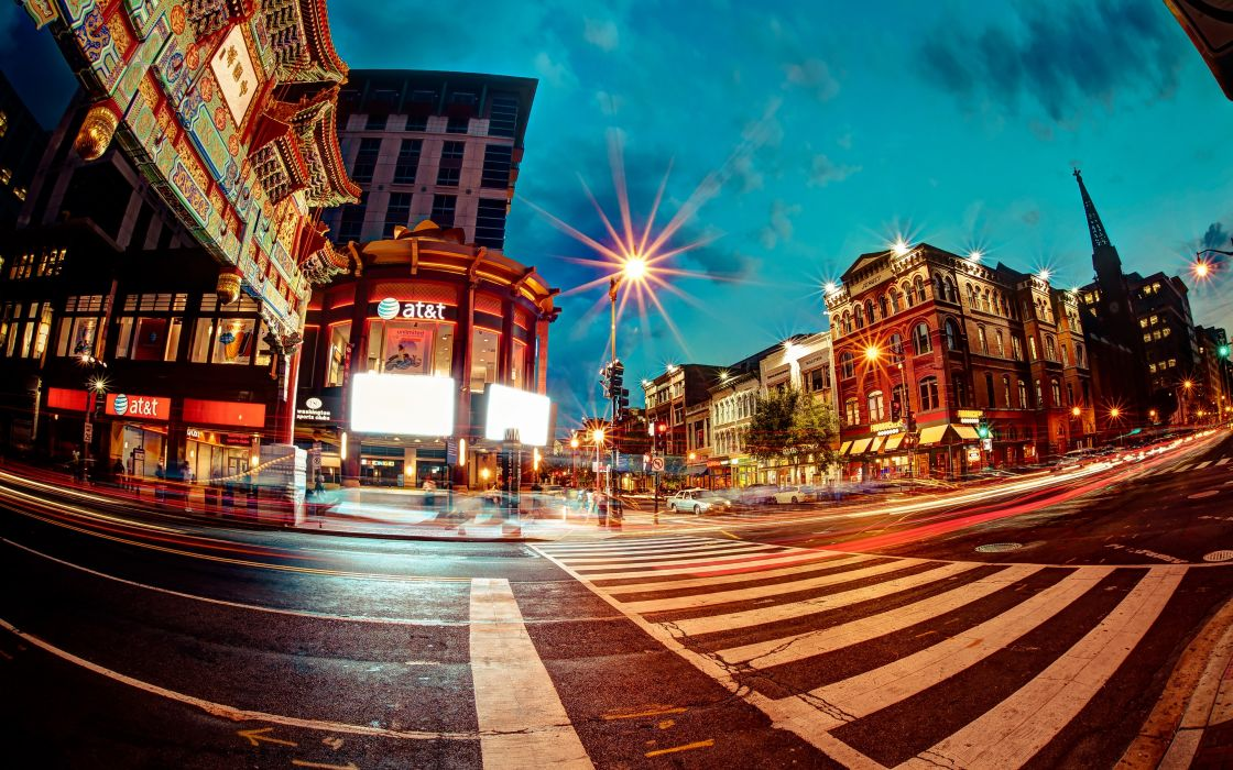 Night lights architecture buildings usa washington dc chinatown long exposure fisheye effect street wallpaper