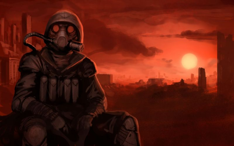 Apocalyptic gas masks gone with the blastwave sitting wallpaper