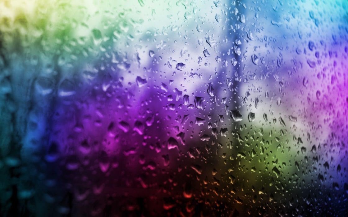Multicolor water drops window panes wallpaper