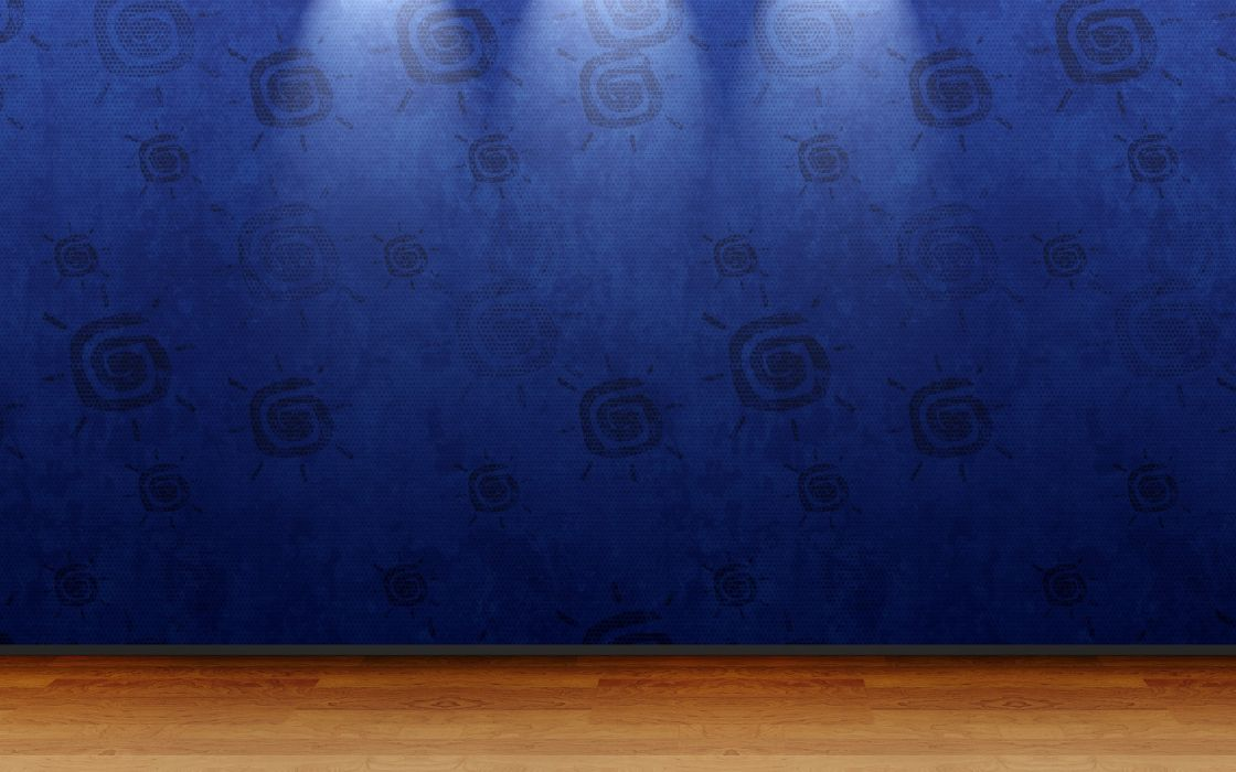 3D view blue minimalistic room wallpaper