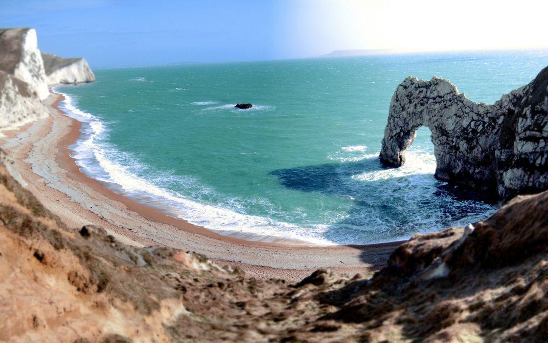 Ocean landscapes beach rocks wallpaper